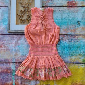 Rahi Cali Rosy Lace Crinkled Embroidered Dress S